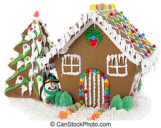 Gingerbread house and christmas tree on the white background...