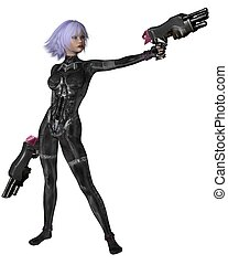 Science Fiction Catsuit Girl Shoots - Futuristic sci-fi girl...