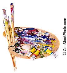 fin, haut, peinture, mélangé, palette