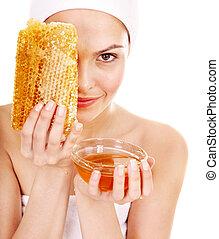 Natural homemade organic  facial masks of honey. Isolated.