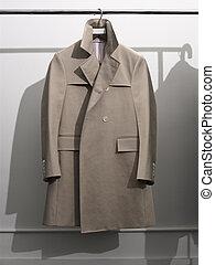 Mens Rain Coat - Mens Begie Rain Coat Hanging