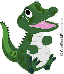 Baby alligator clip art that is isolated..