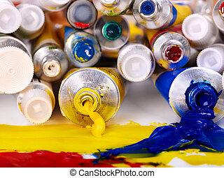 Close up of art supplies. - Close up of group art  utensils.