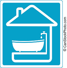 blue symbol bathroom in house - blue symbol with bathroom in...