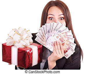 Woman with money Russian rouble - Woman with money Russian...