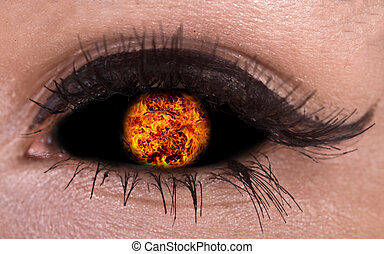 Illustration of magic eye with fire ball.Flame.