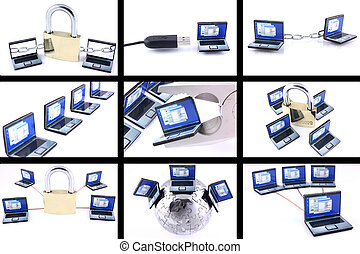 Nine computer images on white background