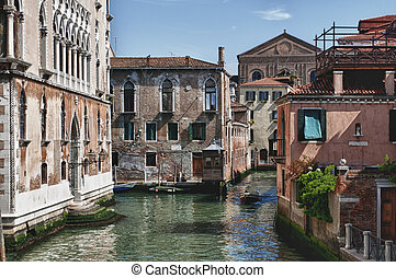 Evocative angle of Venice of ancient palaces