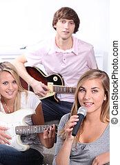 Instrumentos, música, adolescentes, tocando