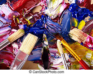 Close up of paint mixed on palette - Close up of oil paint...