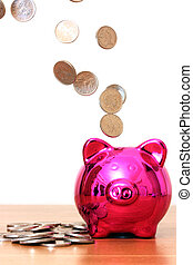 Piggy bank savings with money pouring into it