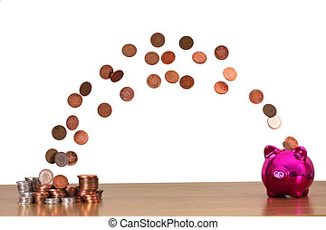 Save you Pennies - Money flying into a piggy bank