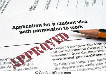 aplicação, estudante, visto