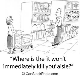 Won't kill grocery - A shopper looks for the health food...