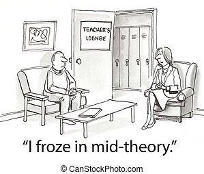 Teacher froze - teacher in lounge talking about freezing