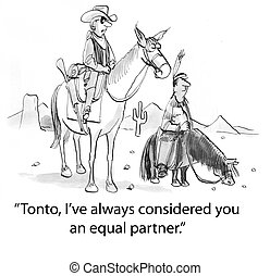 Lone Ranger - tonto is on smaller horse