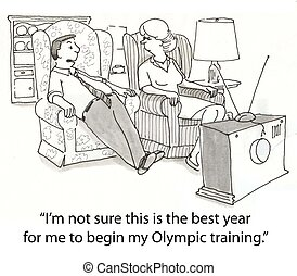 Olympic training - out of shape man on couch