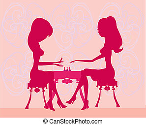manicure - Young lady doing manicure in beauty salon...
