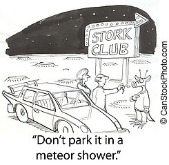 Meteor shower - alien parking car on Mars