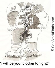 Football blockers - player introduces himself to player