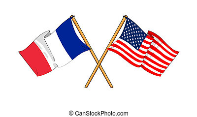 America and France alliance and friendship - cartoon-like...