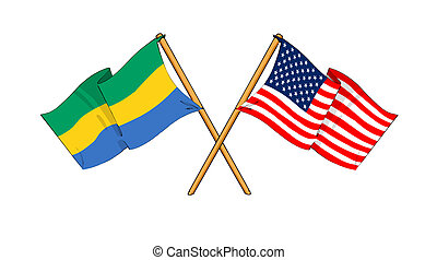 America and Gabon alliance and friendship - cartoon-like...