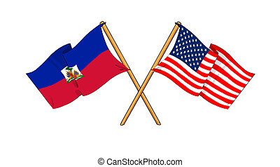 America and Haiti alliance and friendship - cartoon-like...