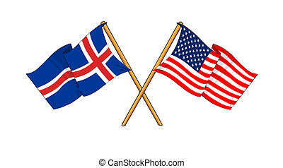 America and Iceland alliance and friendship - cartoon-like...