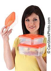 mujer, presentación, plástico, Cajas