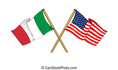 America and Italy alliance and friendship - cartoon-like...
