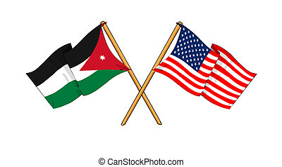America and Jordan alliance and friendship - cartoon-like...