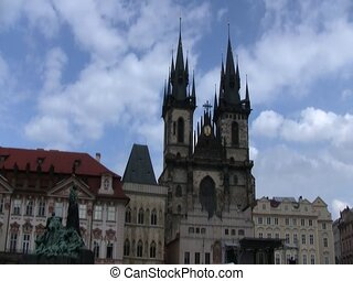 Gothic building in Prague - Preparations begin for VE Day...