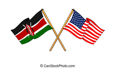 America and Kenya alliance and friendship - cartoon-like...