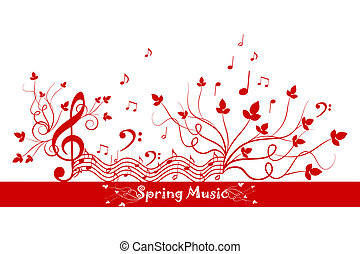Spring Floral and Music - Beautiful background of spring...