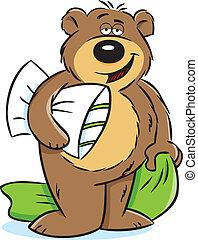 Sleepy Bear - Vector illustration of a sleepy bear holding a...