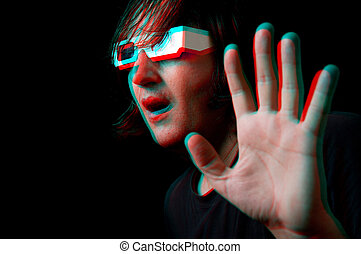 Man with anaglyph glasses - Scared man with anaglyph glasses...