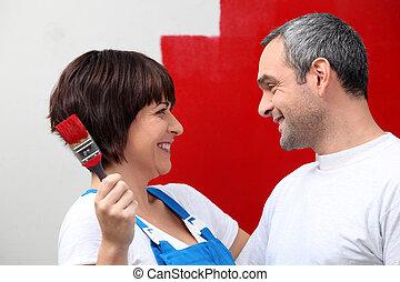 pareja, Pintura, pared, rojo
