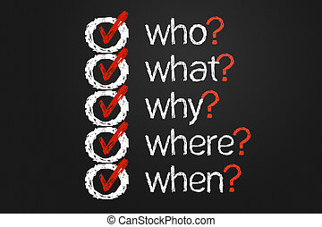 Question list - A simple question list with questions Who,...