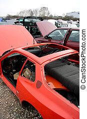 old cars - scrap yard for car recycling