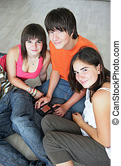 Teens with console