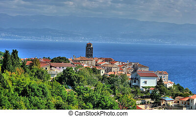Adriatic Town of Brsec and Kvarner bay, Croatia