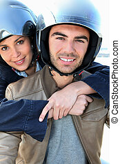 Couple on a scooter