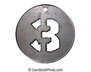 3d metal disc three number