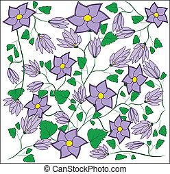 Violet flower with leaflets, buds