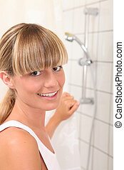 Blond teenager shower