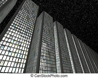Megalopolis at night: Abstract skyscrapers in a row