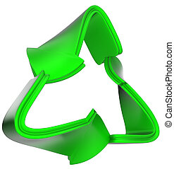 recycling concept: green recycle symbol isolated