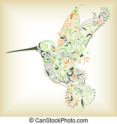 Humming Bird - Illustration of abstract humming bird filled...