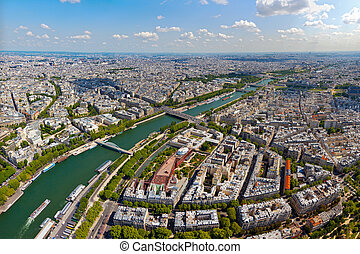 Skyline of Paris as seen from the Eiffel Tower, France.