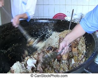 Traditional Plov in Tashkent - Preparing traditional plov in...
